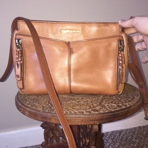 Cole Haan cognac leather braided crossbody bag